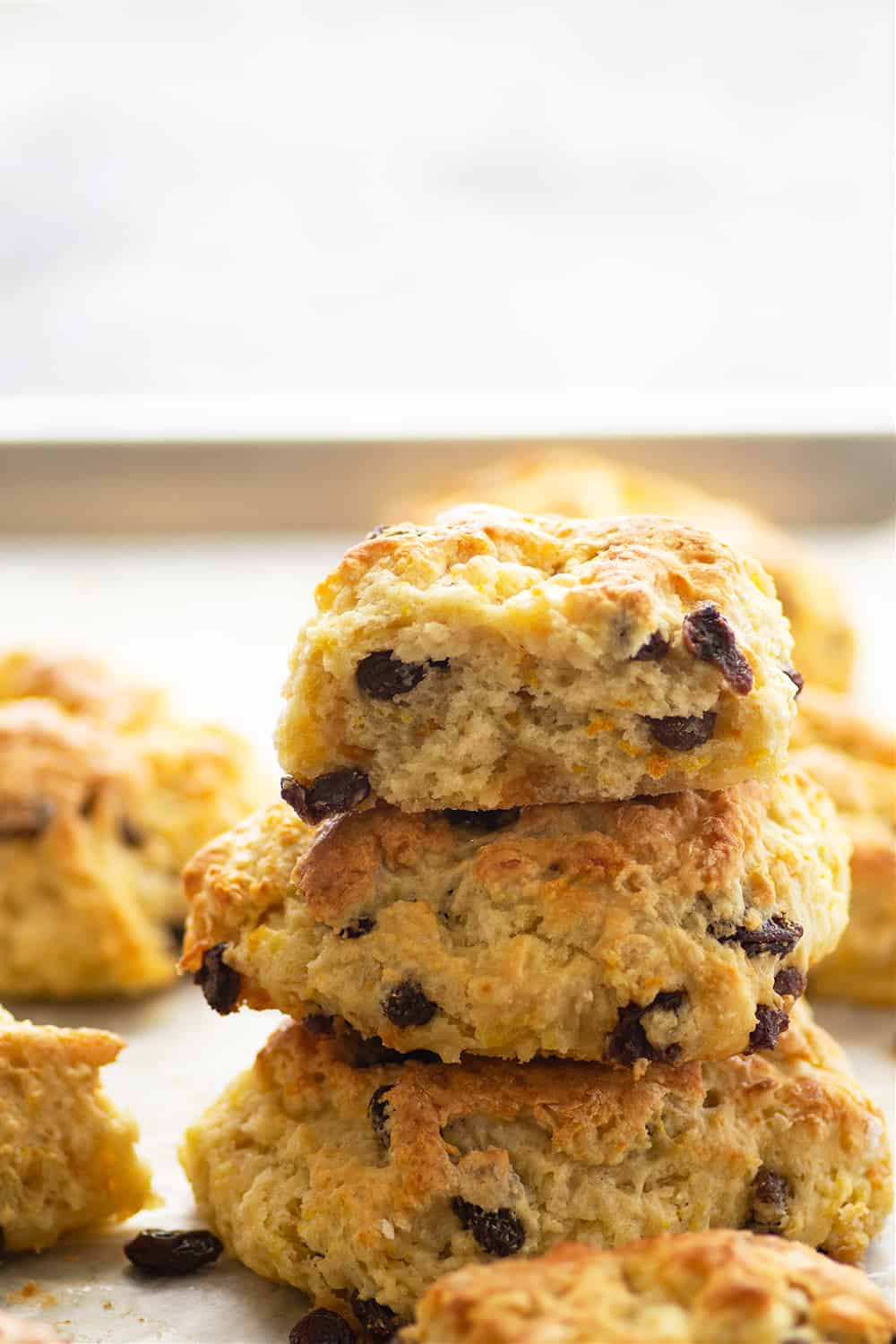 Everything you love about Irish soda bread in scone form! These Irish soda bread scones are buttery, flaky, and studded with soft raisins. - enjoy them hot from the oven with your favorite jam!