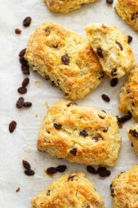 Everything you love about Irish soda bread in scone form! These Irish soda bread scones are buttery, flaky, and studded with soft raisins.