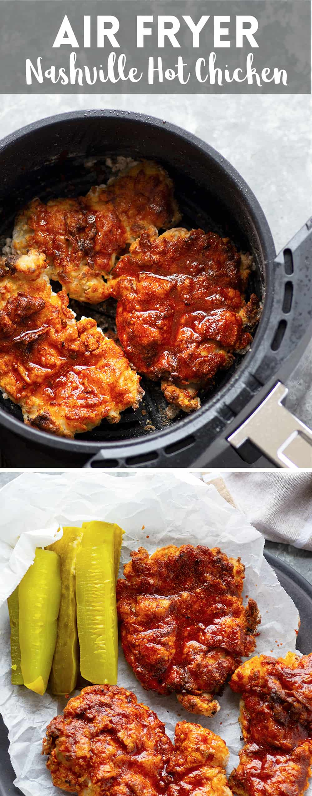 Air fryer Nashville hot chicken is a healthier version of the classic spicy fried chicken! Crispy buttermilk-soaked chicken thighs are fried until perfectly crispy and brushed in a spicy cayenne sauce.