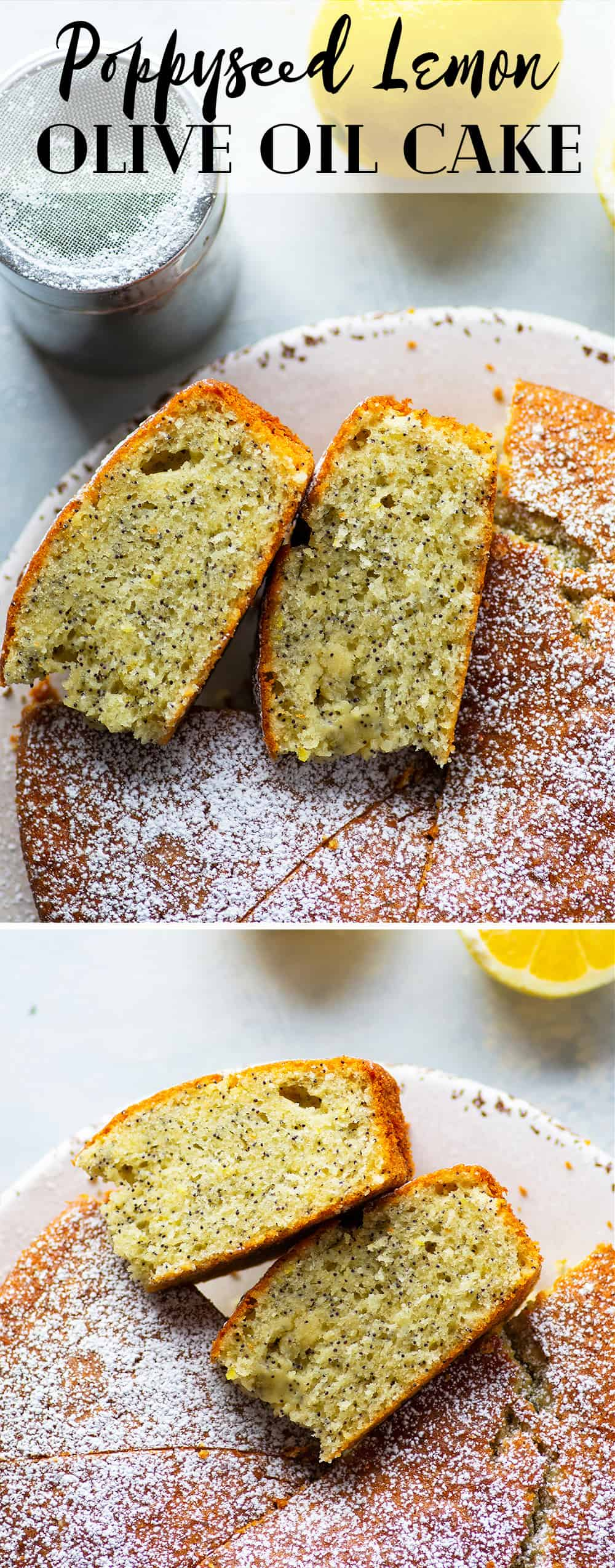 This lemon olive oil cake packs a punch of fresh lemon flavor and poppyseeds in an incredibly soft olive oil cake. Top this simple cake off with a dusting of powdered sugar and watch it disappear!