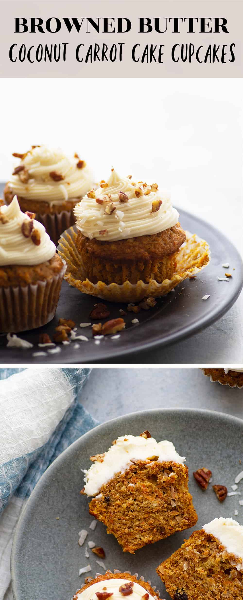 Coconut carrot cake cupcakes feature an incredibly soft browned butter carrot cake interior with plenty of toasty nuts, flaked coconut, and a silky cream cheese frosting.
