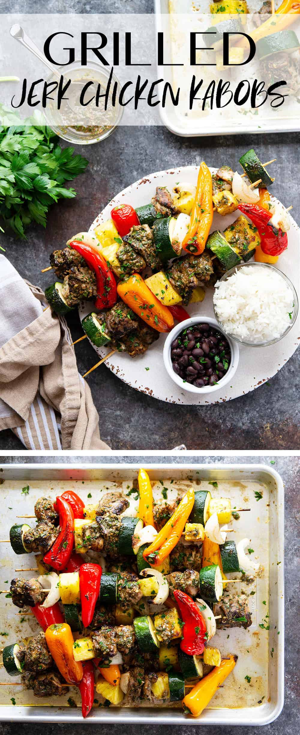Grilled jerk chicken kabobs feature a spicy homemade jerk marinade coating juicy chicken thighs, sweet pineapple, and fresh vegetables.