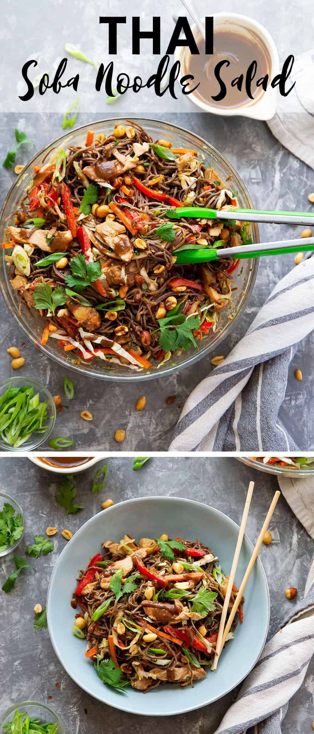Thai soba noodle salad is packed with a rainbow of fresh veggies, tender buckwheat soba noodles, juicy peanut grilled chicken, and a creamy peanut dressing.