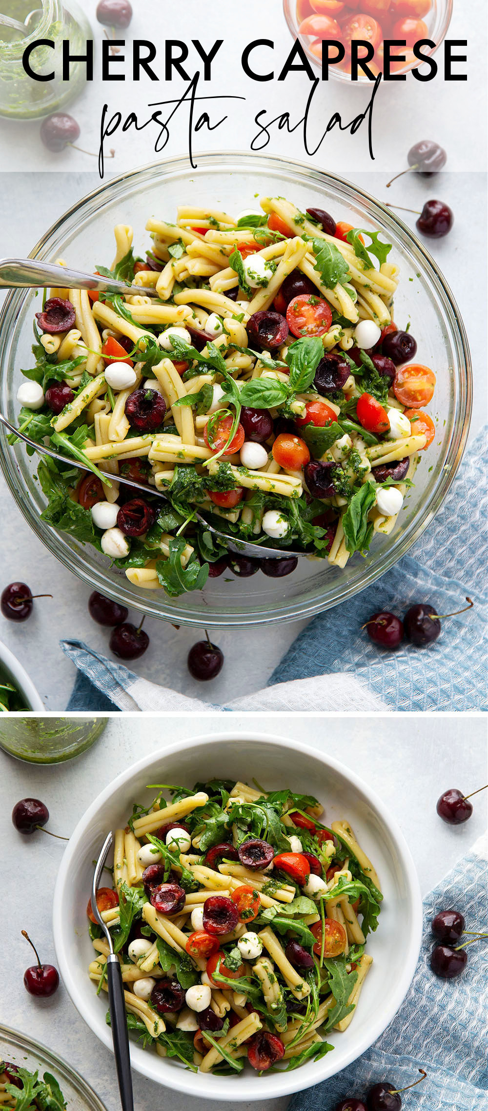 Cherry caprese pasta salad is loaded with juicy cherries, rich mozzarella, and tossed in an herby basil vinaigrette. - fast to make and a hit side dish at any cookout!
