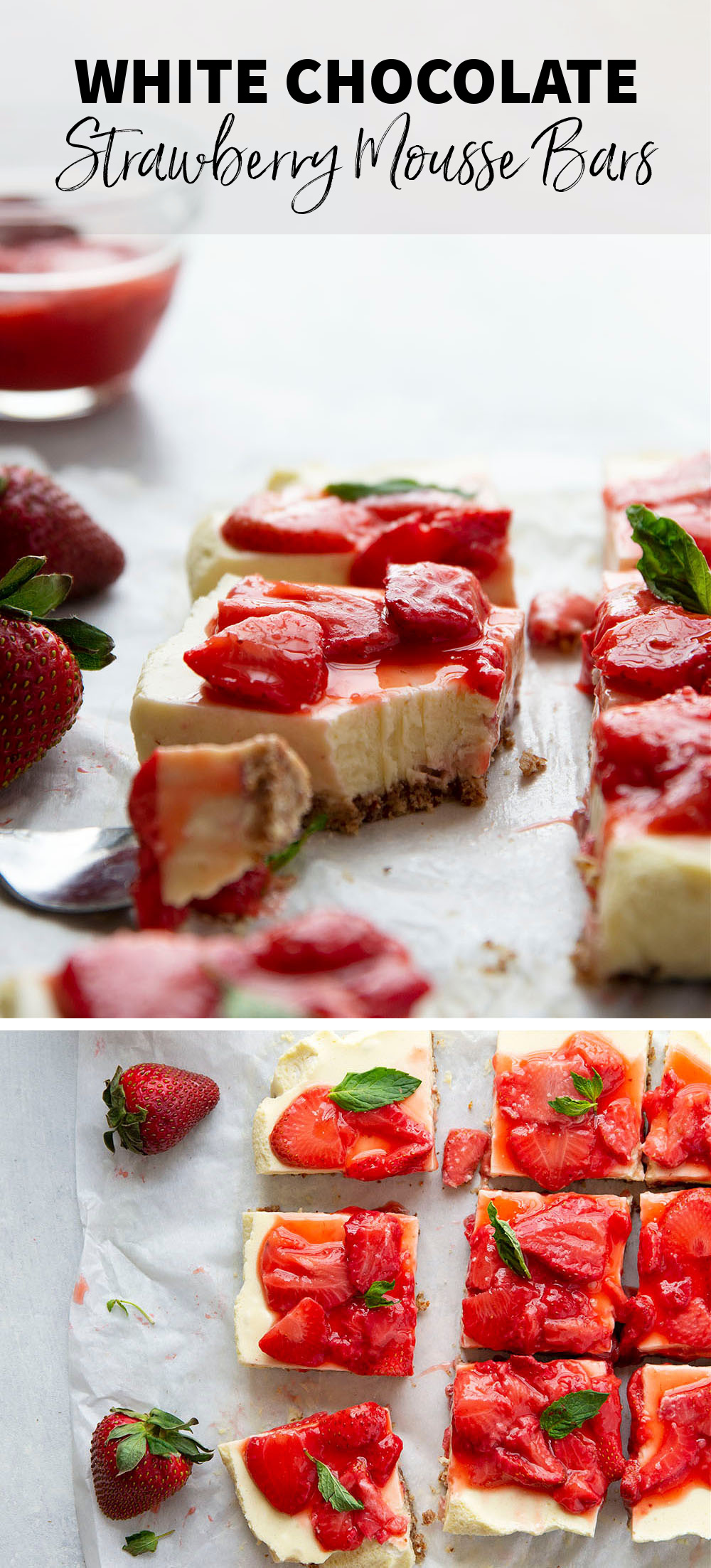Rich white chocolate and juicy strawberries are the perfect combo in these silky white chocolate strawberry mousse bars. - easy to make ahead of time for a gathering and gluten-free!