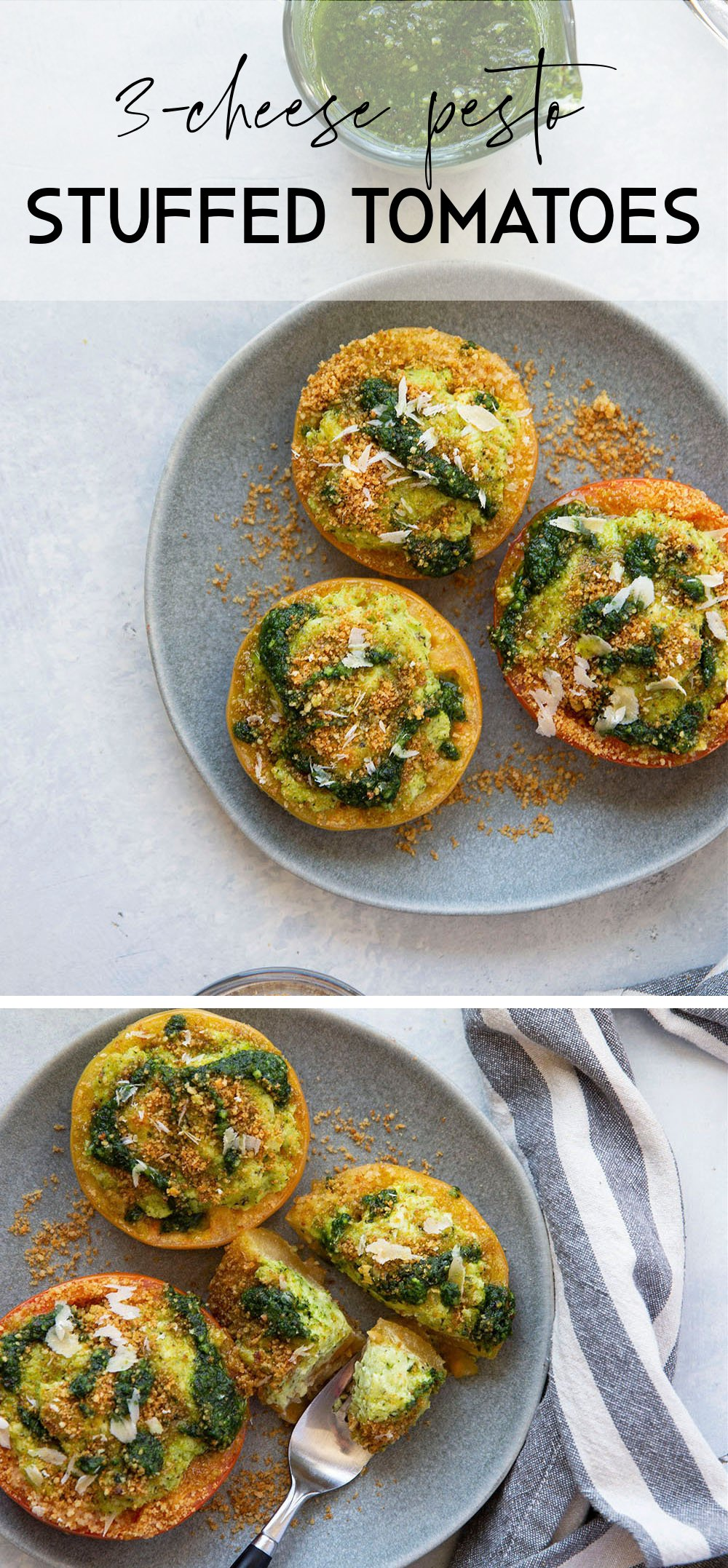 Stuffed with three kinds of cheese and herby pesto, these pesto stuffed tomatoes are easy to whip up in minutes and the perfect use for an abundance of tomatoes!