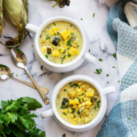 Charred sweet corn and poblano peppers add an incredible depth of flavor to this creamy coconut milk corn chowder. - easy to make a big batch of AND vegan!