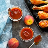 Smoky chipotle peppers and sweet peaches take this chipotle peach BBQ sauce to the next level! It's easy to make several jars of this sauce and it's incredible on grilled chicken, burgers, and more!