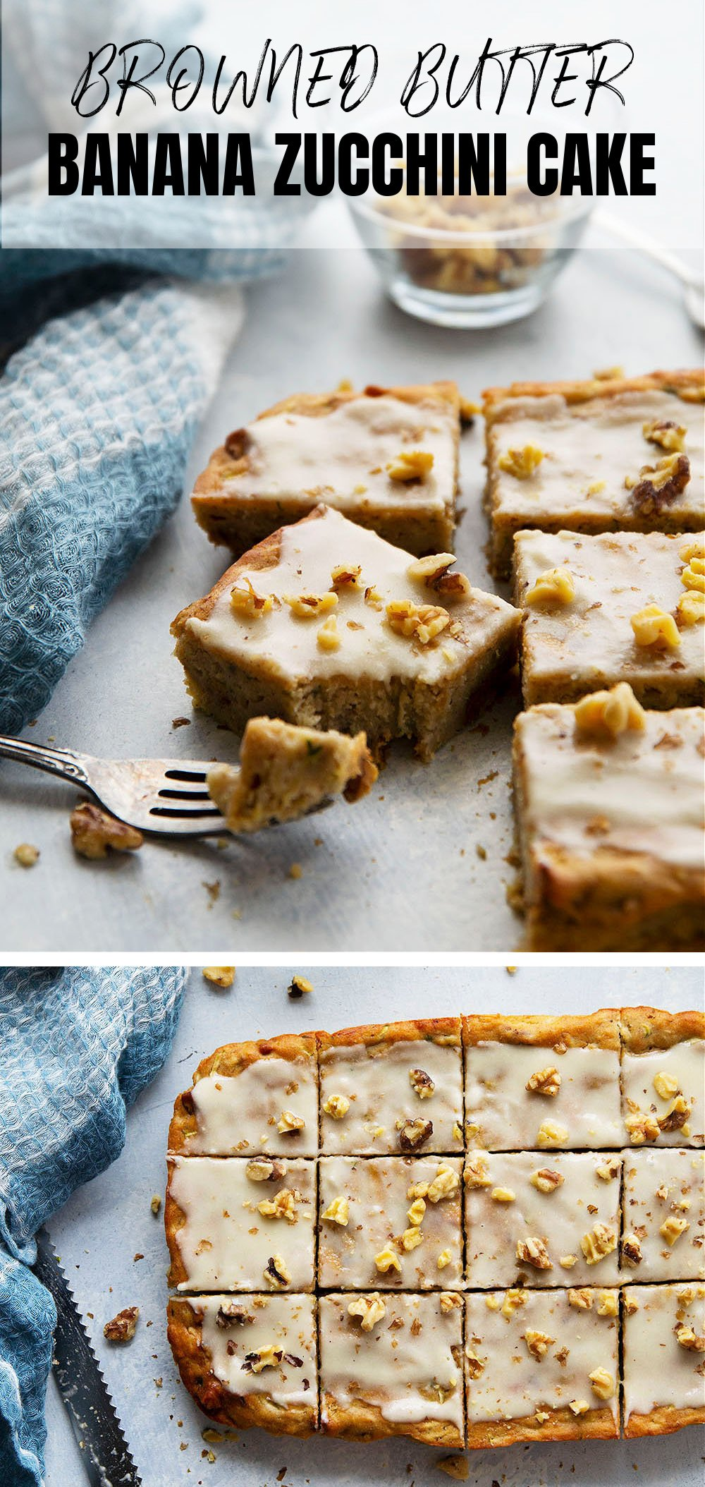This banana zucchini cake is incredibly soft and loaded with flavorful browned butter and crunchy walnuts. - a perfect breakfast, dessert, or snack cake!