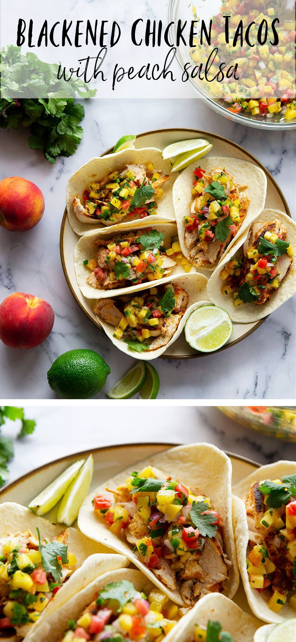 Blackened chicken tacos feature a homemade blackened seasoning mix coating juicy chicken and a fresh spicy peach salsa on top.