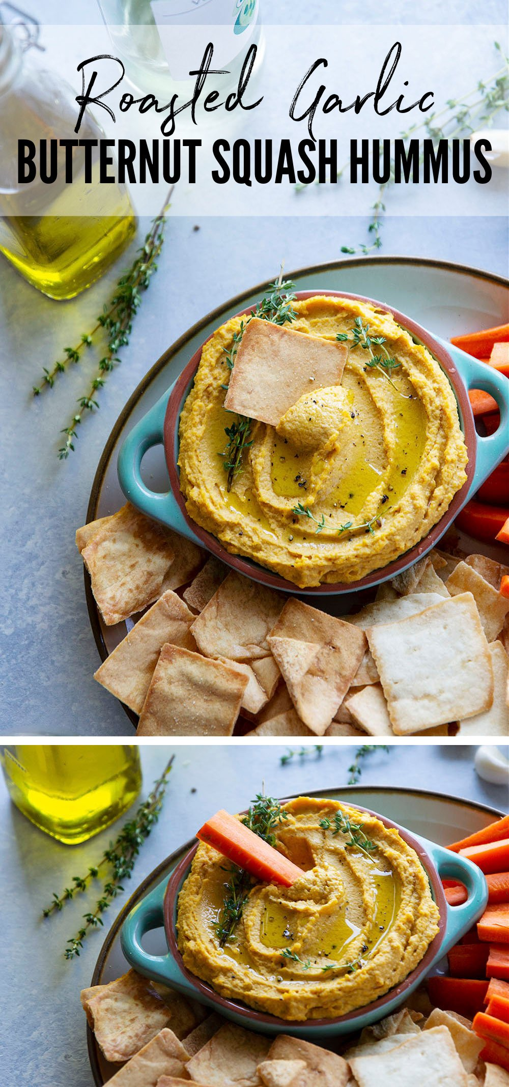 Flavorful roasted garlic and butternut squash gives this butternut squash hummus an unmatchable silky texture that you won't be able to keep those pita chips out of!