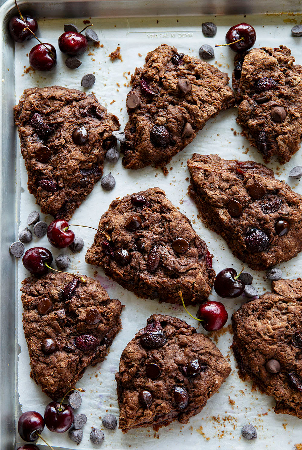Packed with a double whammy of rich chocolate and juicy sweet cherries, these double chocolate cherry scones are almost brownie-like in texture and a favorite indulgent breakfast!