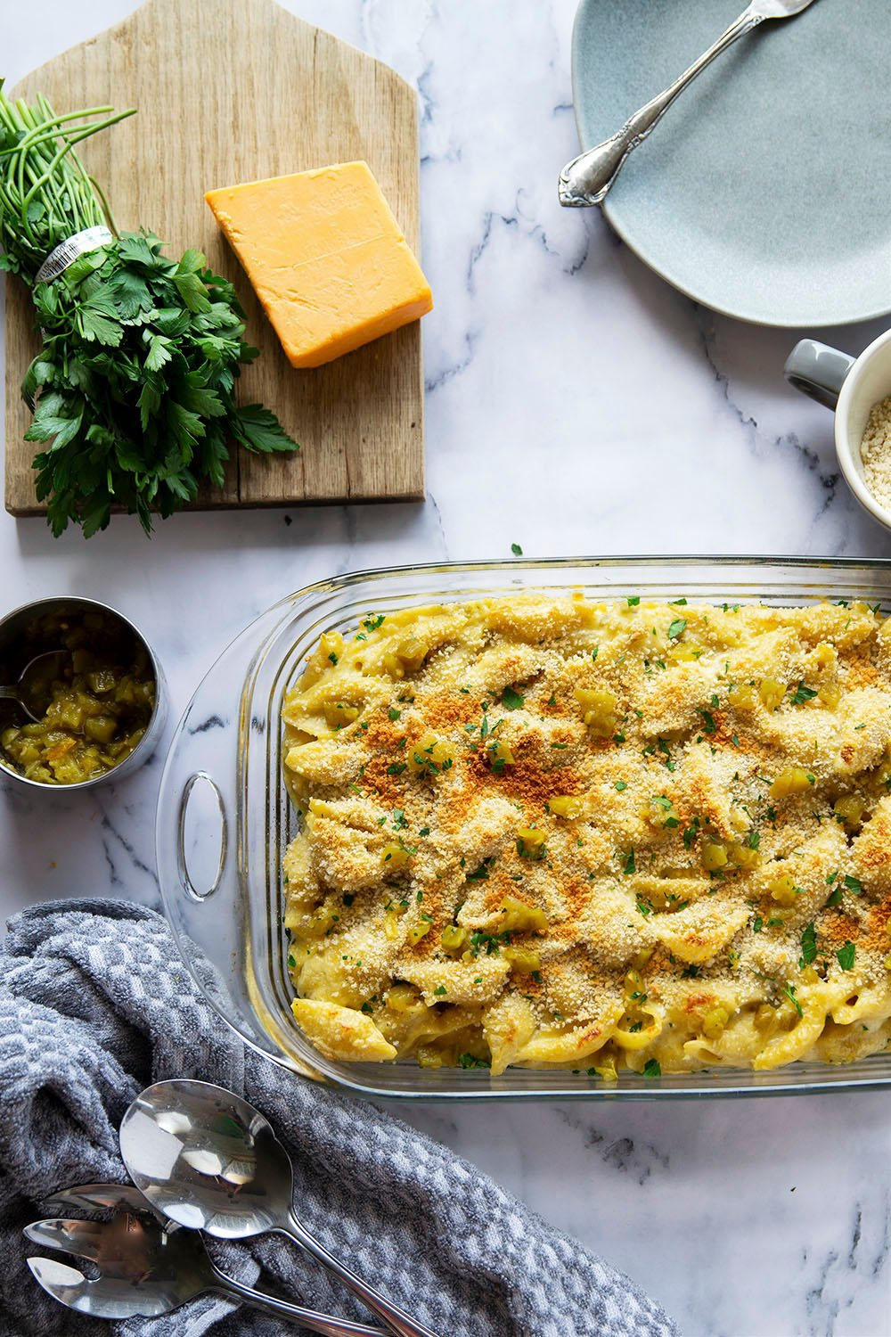 Smoked cheddar and spicy green chiles take this gooey green chile macaroni and cheese to the next level!