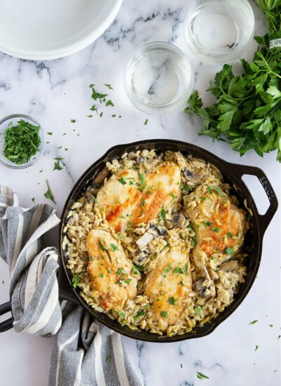 This one pot chicken marsala orzo takes all the work out of traditional chicken marsala and transforms it into a quick, easy weeknight meal made entirely in one pot!