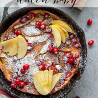 Stuffed with sautéed apples and tart cranberries, this cranberry apple dutch baby is a simple fall breakfast that's always impressive! Serve slices with powdered sugar and plenty of maple syrup.