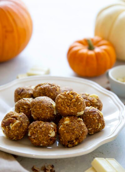 These no bake pumpkin energy bites are loaded with pumpkin goodness, crunchy nuts, and plenty of chocolate. - they come together in minutes, pack an incredible energy boost, and are the best fall snack to stock your fridge with!